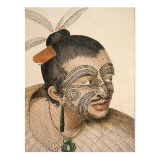 Cartão Postal Esboço de um homem maori, C. 1769