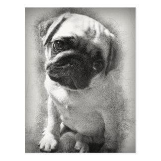 Cartão Postal Esboço do cão de filhote de cachorro do Pug