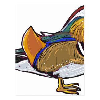 Cartão Postal Esboço do pato de mandarino