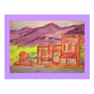 Cartão Postal esboço do watercolour da cidade da montanha
