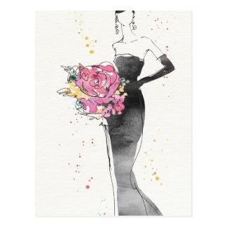 Cartão Postal Esboço floral selvagem do vestido da forma de