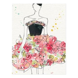 Cartão Postal Esboço glamoroso selvagem do vestido floral de