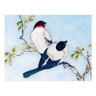 Cartão Postal Esboço japonês da tinta do vintage dos passarinhos