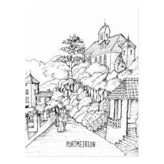Cartão Postal Esboço norte da caneta e da tinta de Portmeirion