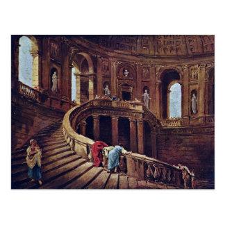 Cartão Postal Escadaria no castelo de Caprarola pelo cubo de