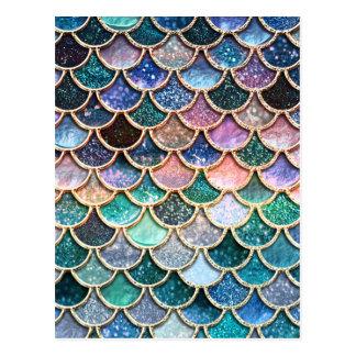 Cartão Postal Escalas multicoloridos luxuosas da sereia do