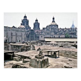 Cartão Postal Escavações cobertas do local asteca, Cidade do