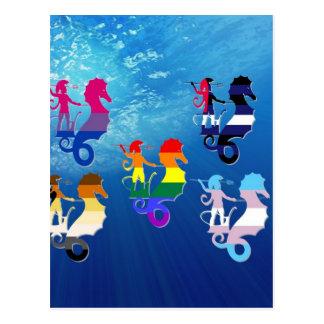 Cartão Postal Escola do orgulho de GLBT dos cavalos marinhos
