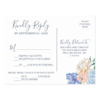 Cartão Postal Escolha floral azul empoeirada RSVP do menu