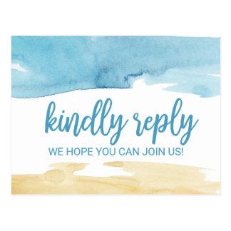 Cartão Postal Escolha RSVP do menu da areia e do mar da aguarela