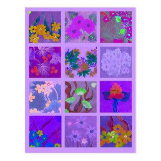 Cartão Postal Escolha um bloco da miniatura roxa da arte dos