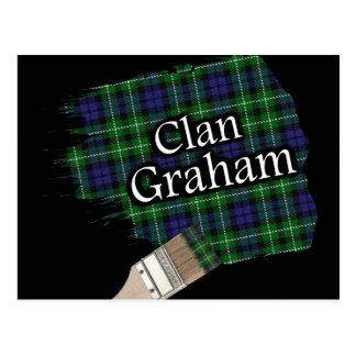 Cartão Postal Escova de pintura escocesa do Tartan de Graham do