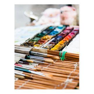 Cartão Postal Escovas de pintura