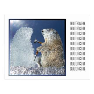 Cartão Postal Escultura de gelo do dia de Groundhog