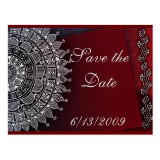 Cartão Postal Escuro - vermelho e design da prata