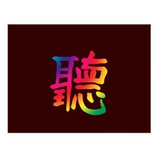 Cartão Postal Escuta o caráter chinês