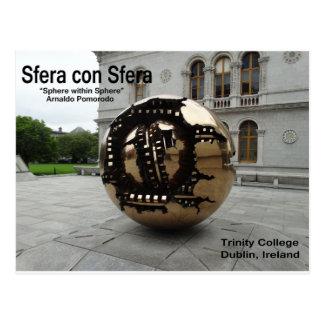 Cartão Postal Esfera dentro da esfera Dublin Ireland