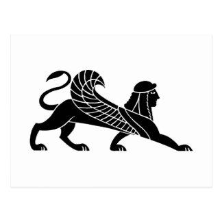 Cartão Postal Esfinge, design grego do alivio