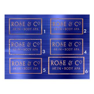 Cartão Postal Esmeralda cor-de-rosa dos azuis cobaltos do ouro