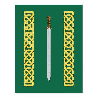 Cartão Postal Espada celta e Knotwork