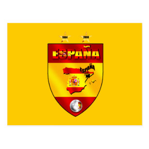 Cartão Postal Espanha 1964 2008 protetores do emblema do futebol d84dad98e3b0d