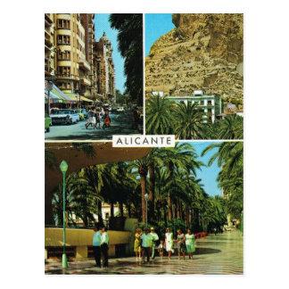 Cartão Postal Espanha do vintage, Alicante, multiview