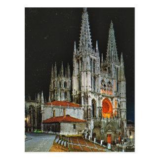 Cartão Postal Espanha do vintage, Burgos, catedral, em a noite