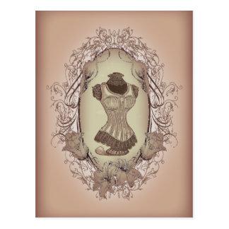 Cartão Postal espartilho floral do vintage da grinalda do