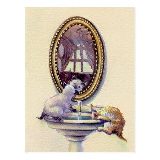 Cartão Postal ESPELHO do GATINHO por SHARON SHARPE
