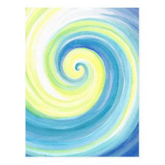 Cartão Postal Espiral, cor de água de Shell da onda