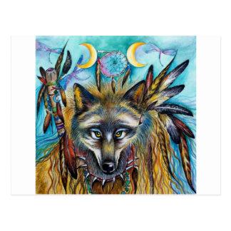 Cartão Postal Espírito do Shaman do lobo