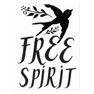 Cartão Postal espírito livre com o pássaro bonito da andorinha