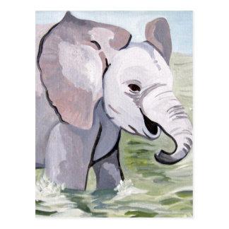 Cartão Postal Espirrar sobre o elefante do bebê (arte de