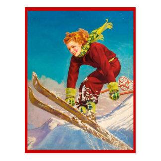 Cartão Postal Esportes de inverno do vintage, descida do esqui
