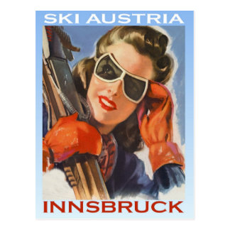 Cartão Postal Esportes de inverno do vintage, esqui Áustria,