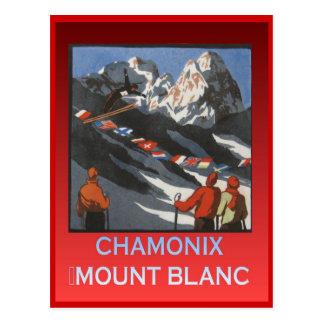 Cartão Postal Esportes de inverno do vintage, esqui Chamonix,