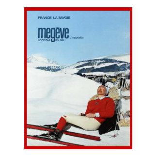Cartão Postal Esportes de inverno do vintage, esqui France,