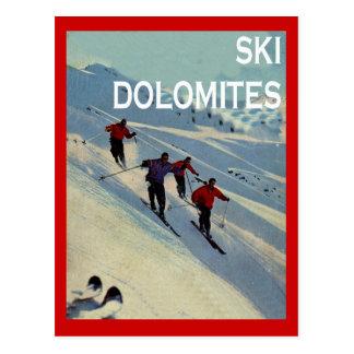 Cartão Postal Esportes de inverno do vintage, esqui Italia,