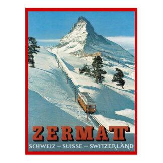 Cartão Postal Esportes de inverno do vintage, esqui Zermatt,