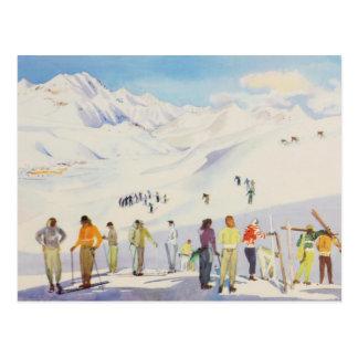 Cartão Postal Esportes de inverno do vintage, esquiadores nas