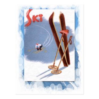 Cartão Postal Esportes de inverno do vintage - jogo do esqui
