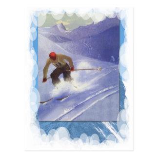 Cartão Postal Esportes de inverno do vintage - raça em declive