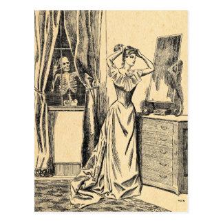 Cartão Postal Esqueleto que espia na senhora Vintage Gótico Arte
