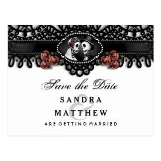 Cartão Postal Esqueletos brancos pretos do casamento do laço do