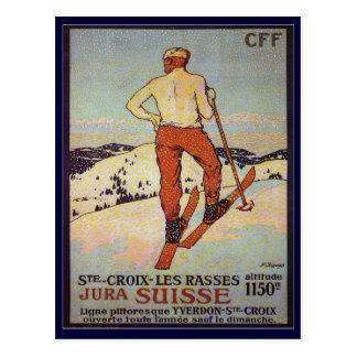 Cartão Postal Esqui do vintage, rasses dos les de Croix da rua,