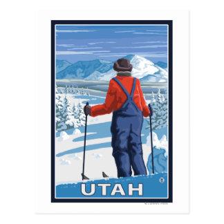 Cartão Postal Esquiador AdmiringUtah