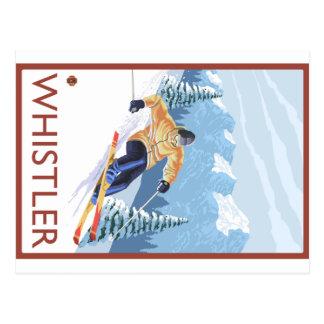 Cartão Postal Esquiador da neve de Downhhill - assobiador, BC