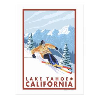 Cartão Postal Esquiador da neve de Downhhill - Lake Tahoe,
