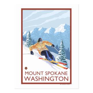 Cartão Postal Esquiador da neve de Downhhill - montagem Spokane,
