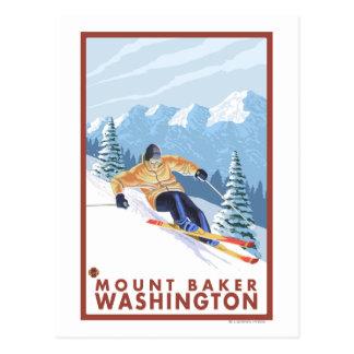 Cartão Postal Esquiador da neve de Downhhill - padeiro da